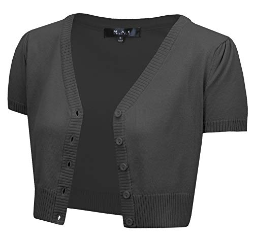 YEMAK Women's Short Sleeve Cropped Bolero Button Down Cardigan Sweater HB2137-CHA-1X Charcoal ()