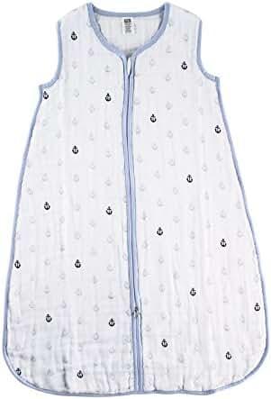 Hudson Baby Muslin Sleeping Bag, Blue Anchors, 6-12 Months