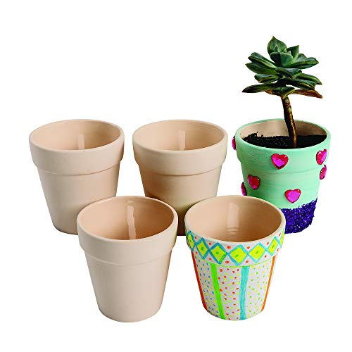 Colorations Ceramic Flowerpots, Set of 12, Small, Unfinished, Coated Inside, Gift, DIY, Ready to Decorate, Arts & Crafts, Craft Project, Nature, Flowers, Herb Garden, Ages 5 & Up