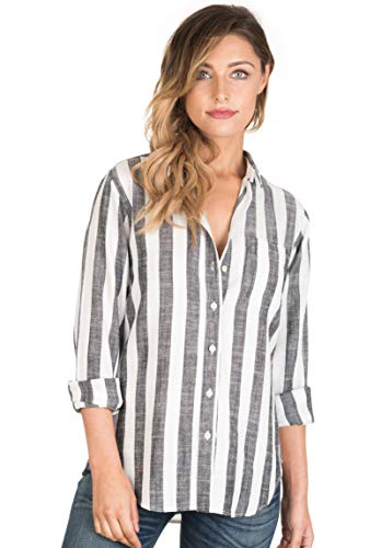 CAMIXA Women's Striped Shirt Casual Long Sleeve Button-Down Drapy Collar Blouse XS White/Black