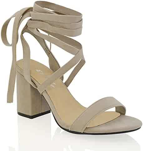 f85018dd94527 ESSEX GLAM Womens Chunky Block Low Mid Heel Lace Up Strappy Sandal Faux  Suede Shoes
