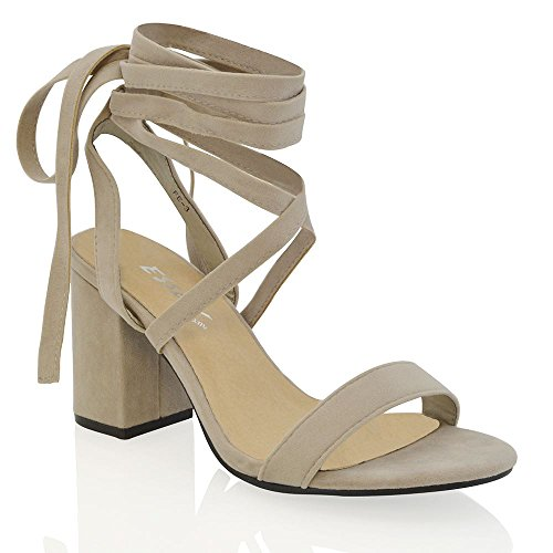 764b8612240 ESSEX GLAM Womens Chunky Block Low Mid Heel Lace Up Strappy Sandal Faux  Suede Shoes