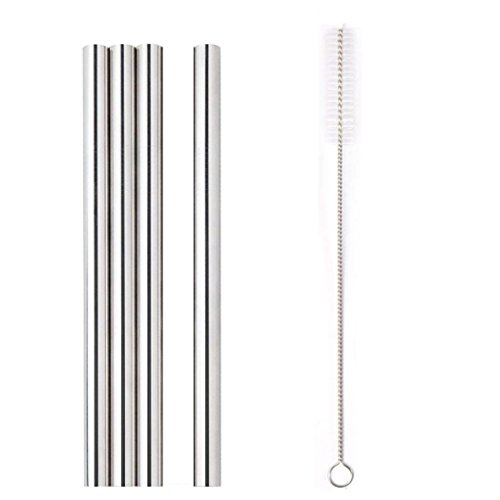 Steel Metal Straws Reusable Drinking Straws with Cleaning Brush for Thick Smoothie Bubble Tea Milkshake Jumbo Drinks (Silver) ()