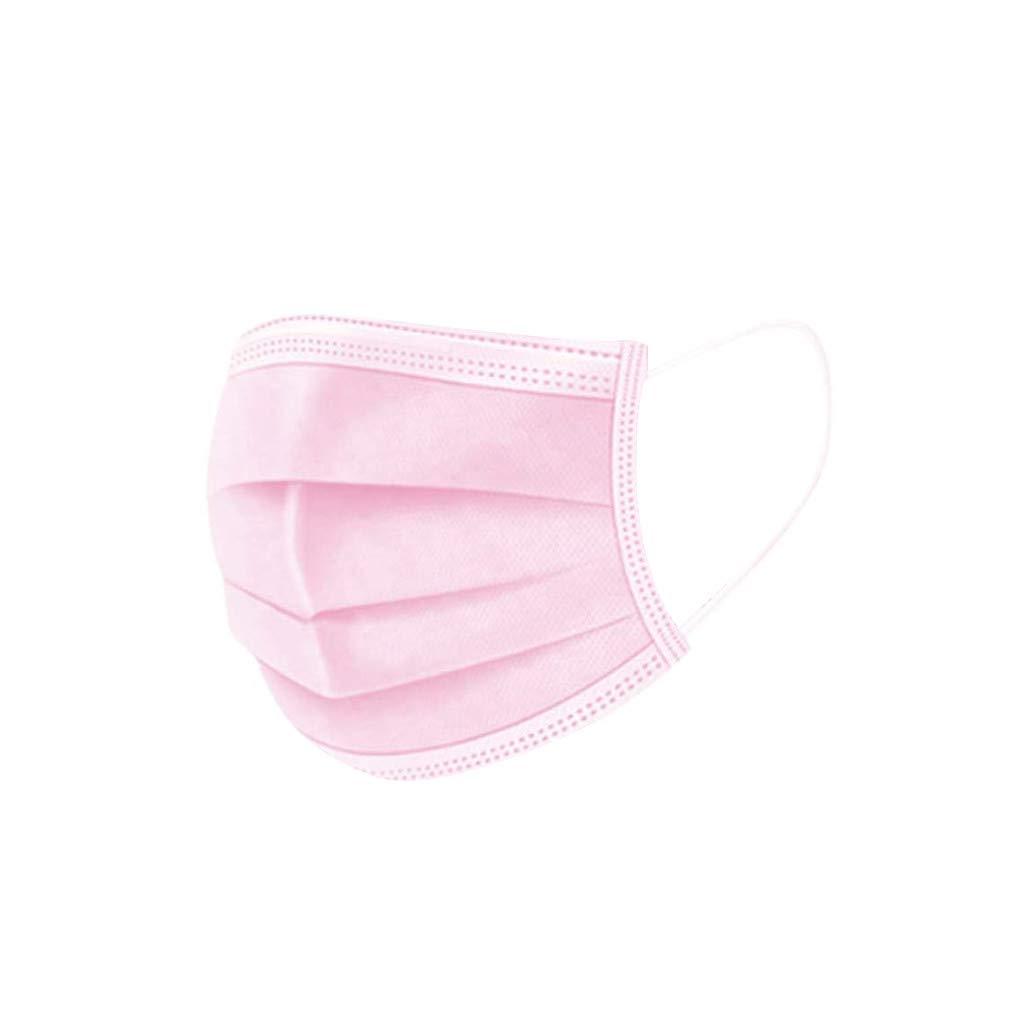MMMYANG 50 Piezas Adulto Rosa Protección personal diaria, Protección 3 Capas Transpirables A Prueba de Polvo con Elástico para Los Oídos (Rosa 50PCS)