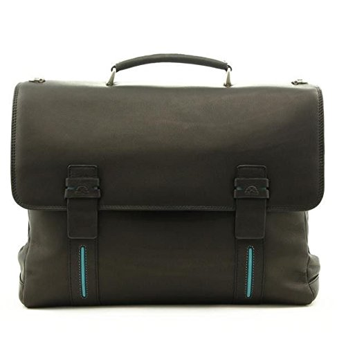 Tony Perotti Mens Italian Leather Flaminio Double Compartment Leather Laptop Briefcase in Black