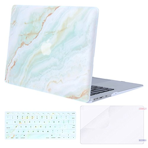 Mosiso Plastic Pattern Hard Shell Case with Keyboard Cover with Screen Protector for MacBook Air 13 Inch (Model: A1369 and A1466), White Green Marble