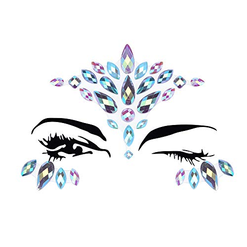 Inverlee 1 Sheet Facial Gems Adhesive Glitter Jewel Tattoos Stickers Wedding Festival Party Body Makeup (E5) -