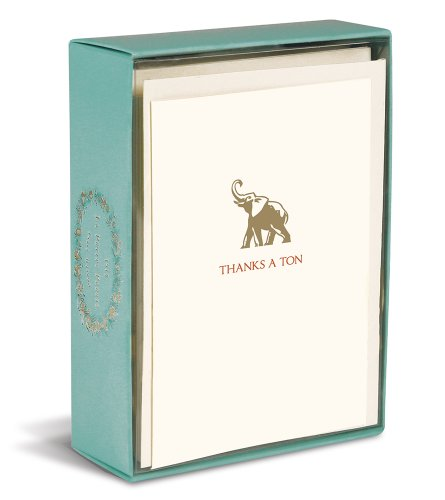 Graphique Thanks a Ton La Petite Presse Notecards, 10 Durable Embossed and Embellished Gold Foil
