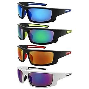 Edge I-Wear Sports Safety Sunglasses ANSI Z87+ Color Mirror Lens 570100/REV-2(BLK.gn)