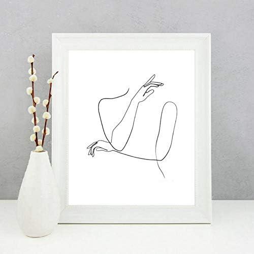 抽象女性の手1ライン描画絵画現代壁アートキャンバスプリント細かいラインアートポスター女性スケッチアート家の装飾-20×25センチ非フレーム