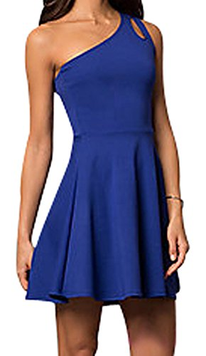 Cheryl Creations Women's One Shoulder Comfortable Day/Night Skater Mini Dress | Asymmetrical Teardrop Cutout