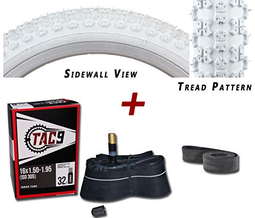 "TAC 9 2 Pack - Tires, Tubes, Rim Strips Combo - 16"" x 1.75"" White BMX (MX-3) Kids Bike Tire, Tube and Rim Strip Bundle Bicycle Products"