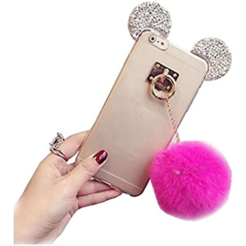 Soft TPU Case for Galaxy S7,3D Handmade Diamond Mouse Ears Handcraft With Heart Ring Metal Buckle Pendant Fur Plush Ball Hang Rope Case for Samsung Sales