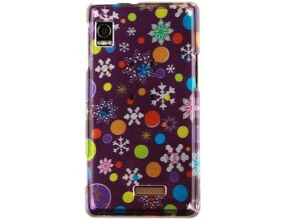 A955 Snap (Fits Motorola A855 Droid Hard Plastic Snap on Cover 2D Silver Xmas Flake Purple Verizon (does not fit Motorola A955 Droid II))