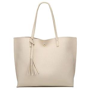 Women's Soft Leather Tote Shoulder Bag from Dreubea, Big Capacity Tassel Handbag 29