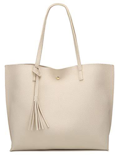 (Women's Soft Leather Tote Shoulder Bag from Dreubea, Big Capacity Tassel Handbag Beige)