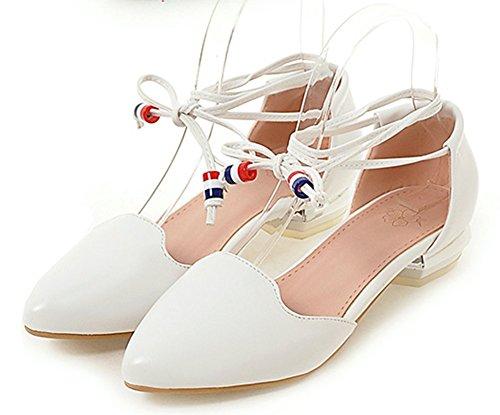 Easemax Womens Sweet Pointed Toe Low Cut Self Tie Low Heels Sandals White 5AlJVa7Tuy