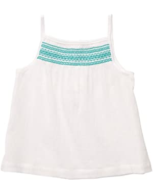 Baby Girls' Mini Blues White Strappy Gauze Top
