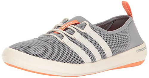 adidas Outdoor Women's Terrex Climacool Boat Sleek Water Shoe, Mid Grey/Chalk White/Easy Orange, 8.5 M US