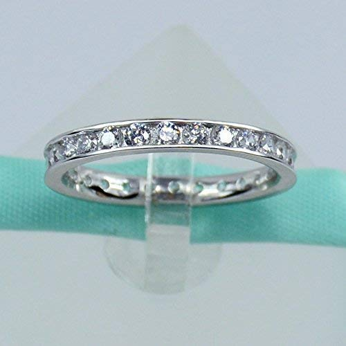 Sterling Silver Eternity Wedding Band, 2MM Simulated Diamond Cubic Zirconia, Platinum Plated