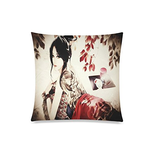 Japanese Art Geisha Girl Rectangle Sofa Home Decorative Throw Pillow Case Cushion Cover Cotton Polyester Twin Side Printing 20 x 20 inches