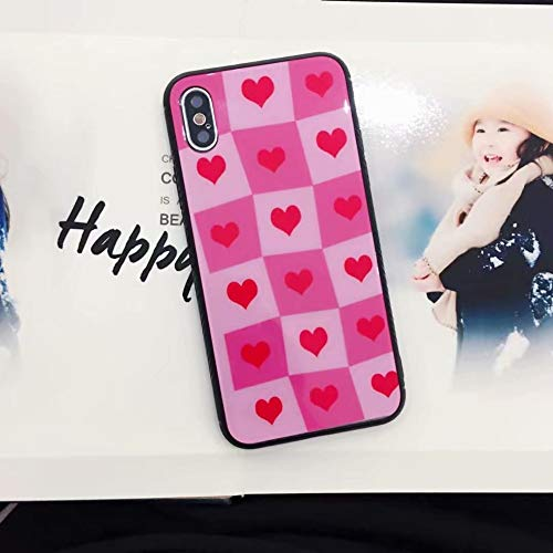 Fitted Cases - New Hot Kawaii Cute Love Heart Phone Case for iPhone X 6 6S Plus 7 8 Plus Back Cover PC Hard Tempered Glass Shell Coque - by Mariahanan - 1 PCs ()