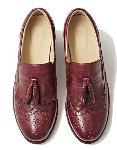 Stile Simplec Oxfords Da Rotonda Borgogna Caviglia Donna Tacco Punta Nappa Scarpe Medio Classico Affare Brogue qrrpxI8w5