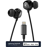 Thore V100 iPhone Earphones – Lightning Connector MFi Certified by Apple Earbuds (2018) Ergonomic Wired Headphones In Ear with Microphone/Volume Control & Mic (Carrying Case Included) – Black
