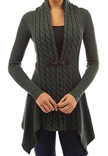 OMZIN Women Open Front Slim Knit Sweater Classic Cardigan Army Green 2XL