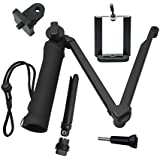 Taslar 3-Way Grip Arm Tripod Foldable Selfie Stick, Stabilizer Adjustable Monopod Mount Holder For Action Cameras And All Gopro Hero With Long Screw (Black)