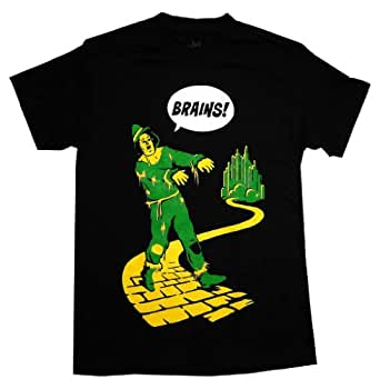 The Wizard Of Oz Zombie Scarecrow Brains Movie Adult T-Shirt Tee Select Shirt Size: X-Large black