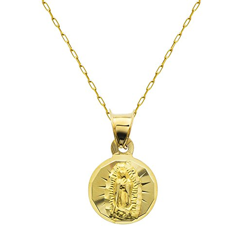 14K Yellow Gold Virgin Mary Guadalupe Charm Pendant Necklace (16 Inches, Elongated Cable Chain)