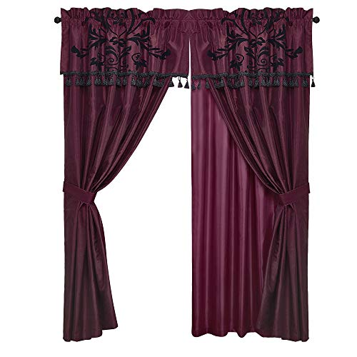 Chezmoi Collection 2 Panel Flocked Floral Faux Silk Window Curtain Set with Sheer Backing Valance, Burgundy/Black