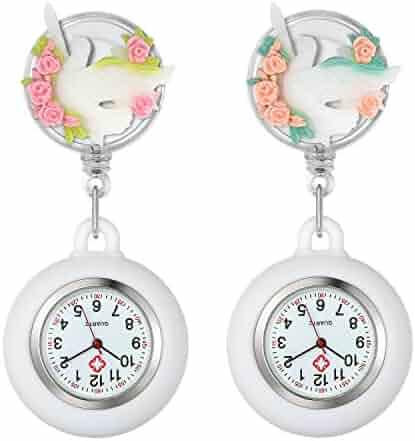 dbf486b017d Women's Nurse Watch Lovely Peace Pigeon Flowers Clip-on Hanging Lapel Watch  for Nurses Doctors