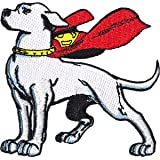 DC Comics Iron on Patch - Krypto Puppy Dog Superman Red Cape Standing Applique
