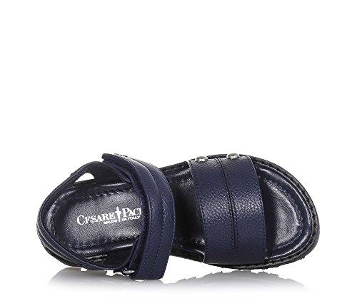 CESARE PACIOTTI - Sandale bleue en cuir, fabriquée en Italie, avec fermeture en velcro, Fille, Filles