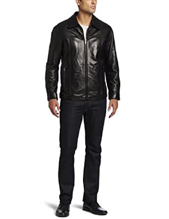 Marc New York by Andrew Marc Men's Carter Smooth Lambskin Leather Open Bottom Jacket, Black, XX-Large
