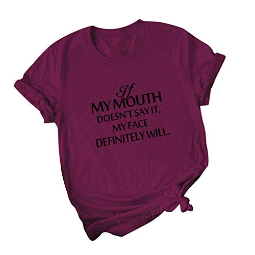 If My Mouth Doesnot Say It My Face Diffintely Will T Shirt,SMALLE◕‿◕ Womens Graphic Funny Tops Cute Saying Casual Tees Wine