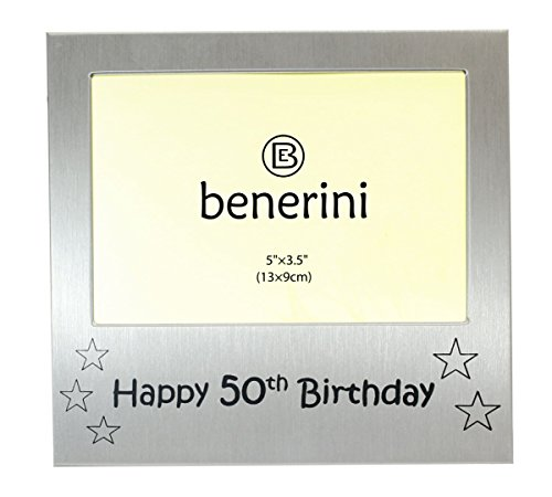 benerini Happy 50th Birthday - Photo Frame Gift - Photo Size 5 x 3.5 Inches (13 x 9 cm) - Brushed Aluminum Satin Silver Color.