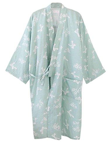 df4d8a8770 Women s Cotton Kimono Long Sleeve Daisy Printed Bathrobe Sleepwear