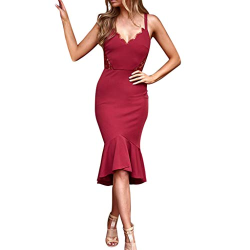 Nuewofally Women Dresses for Special Occasions Long Fish Tail Skirt Ruffled Hem Long Dress Lace Patchwork Maxi Dress (Wine,M) ()
