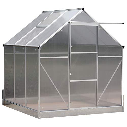 Outsunny 6.25′ L x 6.25′ W Portable Outdoor Walk-in Garden Greenhouse Planter