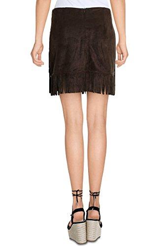 Cherry Paris venta Special Promo -40%–Mini falda corta mujer Joan materia ante Copa derecha con flecos Zip Invisible a la trasera caqui