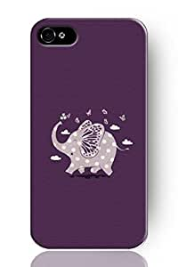 Chuntihavi NEW Fashion Design Hard Skin Case Cover Shell for Mobilephone Apple iphone 4s--lovely elephant playing with butterfly