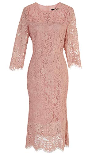 Roey s house Women Lace Cocktail Dress Half Sleeves Sheath Bodycon Midi Ladies Business Casual Dress Women's Three Quarter Sleeve Lace Cocktail Dress Sheath Midi Fitted A-line Dress L Pink ()