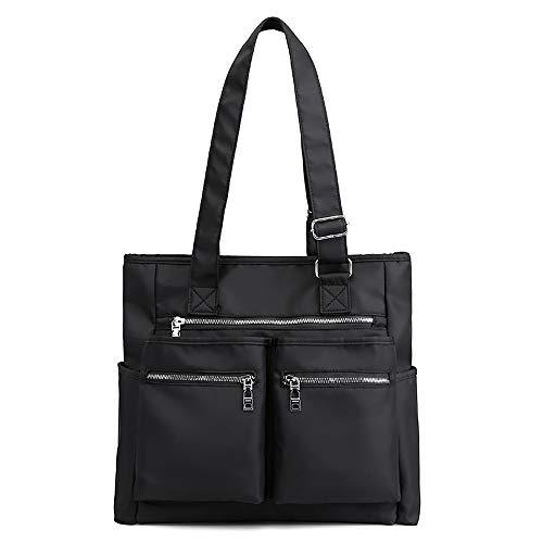 Mfeo Multi Pocket Womens Nylon Handbag Shoulder Bag Large Capacity Shopping Bag Tote Work Bag (B - BLACK)