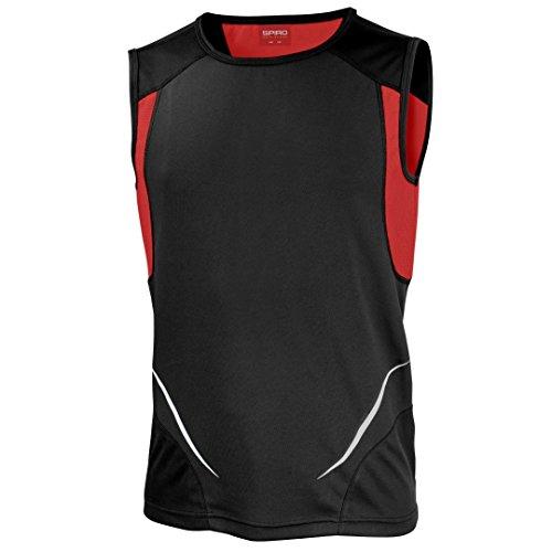 Spiro - Camiseta sin mangas - para mujer negro/ rojo