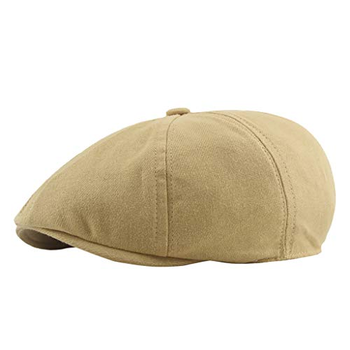 Unisex Cotton Newsboy Beret Hat,Crytech Breathable Plain Flat Ivy Gatsby Caps Vintage Classic Solid Color 8 Pannel Retro Cabbie Octagonal Golf Driving Hat for Women Men (Yellow)