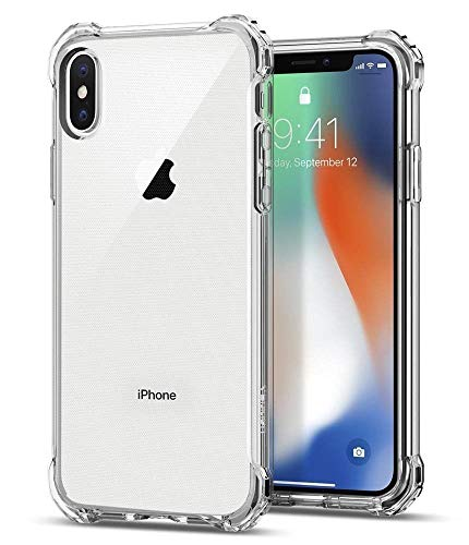 Tech Express Bumper Shield Drop Protection Cover for Apple iPhone Design Defender Armor Defense Rubber [Clear TPU] Protective Skin Anti-Slip Wireless Charger Compatible Corner Case (iPhone Xs)