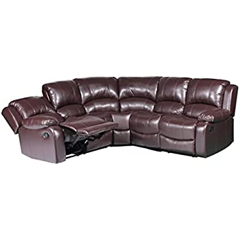 Large Classic and Traditional Bonded Leather Reclining Corner Sectional Sofa for Big Families (Brown)